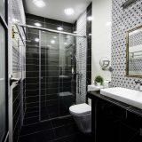 Glass shower door allows natural and artificial light to flow into the space and help to improve visibility.